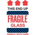 Tape Logic This End Up Fragile Glass Staples® Shipping Label, 4in. x 6in., 500/Roll