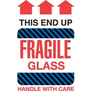 Tape Logic This End Up Fragile Glass Staples® Shipping Label, 4 x 6, 500/Roll
