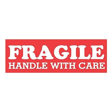 Tape Logic Fragile Handle with Care Staples® Shipping Label, 1-1/2