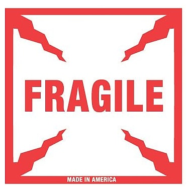 Tape Logic Fragile Staples® Shipping Label, 4in. x 4in., 500/Roll