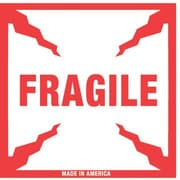 Tape Logic Fragile Staples® Shipping Label, 4 x 4, 500/Roll