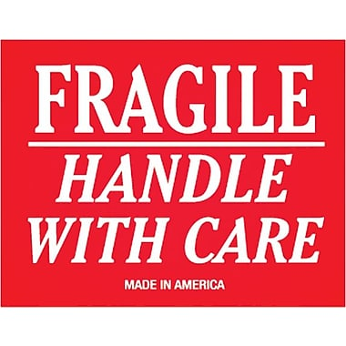 Tape Logic Fragile Handle With Care Staples® Shipping Label, 3in. x 4in., 500/Roll