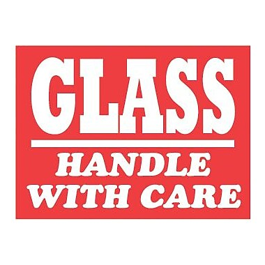 Tape Logic Glass Handle with Care Staples® Shipping Label, 3
