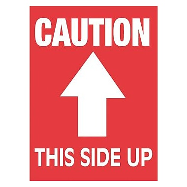 Tape Logic Caution This Side Up Staples Shipping Label, 3in. x 4in.