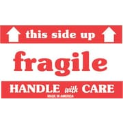 Tape Logic Fragile This Side Up Staples® Shipping Label, 3 x 5, 500/Roll