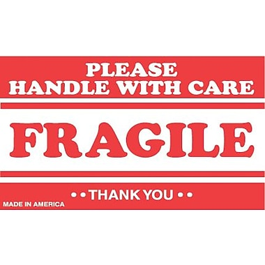 Tape Logic Fragile Please Handle with Care Staples® Shipping Label, 3in. x 5in., 500/Roll