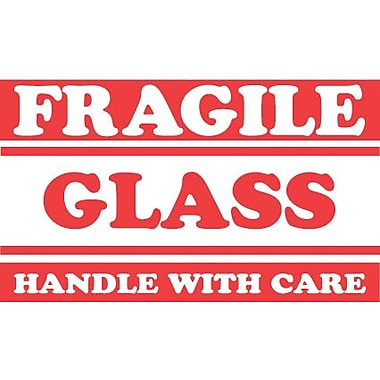 Tape Logic Fragile Glass Handle with Care Staples® Shipping Label, 3in. x 5in., 500/Roll