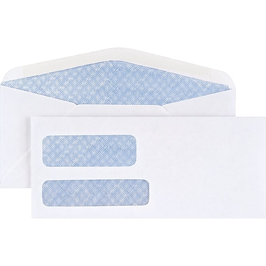 Staples® #10 Double Window Security-Tint Gummed Envelopes, 500/Box