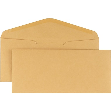 Staples® #10, Brown Kraft Gummed Envelopes, 500/Box