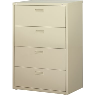 Staples HL1000 Lateral File Cabinet, 30in. Wide, 4-Drawer, Putty