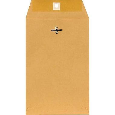 Staples® 6in. x 9in. Brown Kraft Clasp Envelopes, 100/Box