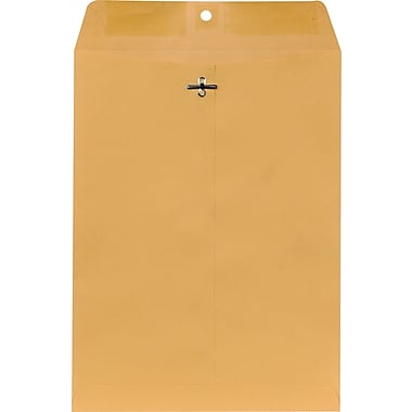 Staples® 9in. x 12in. Brown Kraft Clasp Envelopes,  250/Box