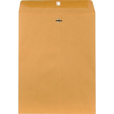 Staples® 12in. x 15-1/2in. Brown Kraft Clasp Envelopes, 100/Box