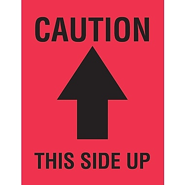 Tape Logic Caution This Side Up Staples Shipping Label, 4in. x 3in.