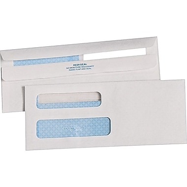 Quality Park™ #8 5/8 Check Size Double-Window Redi-Seal™ Security-Tint Envelopes, 500/Box
