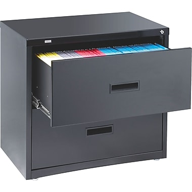 Staples HL1000 Lateral File Cabinet, 30in. Wide, 2-Drawer, Black