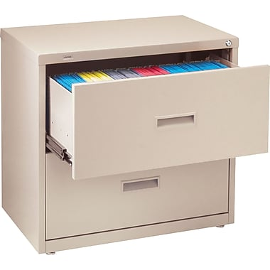 Staples HL1000 Lateral File Cabinet, 30in. Wide, 2-Drawer, Putty