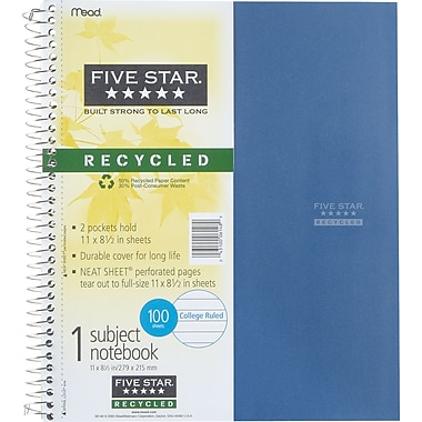 Mead Five Star® Recycled Wirebound Subject Notebooks, 8-1/2