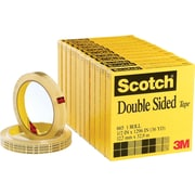 "Scotch® Double Sided Tape 665,  1/2"" x 36 yds, 3"" Core, 12/Pack"