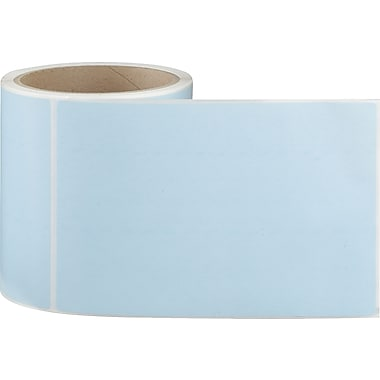 4 x 6 Perfed Blue Permanent Adhesive Thermal Transfer Roll Sato Compatible Label/Ribbon Kit