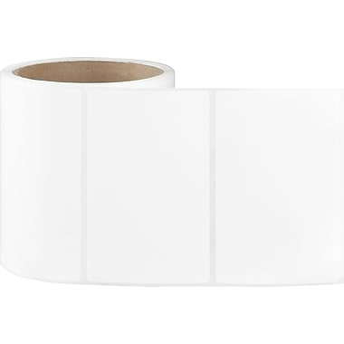 4 x 2-1/2 Perfed White Permanent Adhesive Thermal Transfer Roll Sato Compatible Label/Ribbon Kit