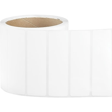 3-1/2 x 1 Perfed White Permanent Adhesive Thermal Transfer Roll Sato Compatible Label/Ribbon Kit