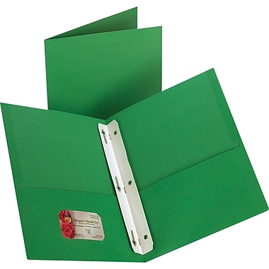 Staples 2-Pocket Folder with Fasteners, Green, 10/PK (13388-CC)