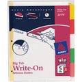 Avery® Write-On™ BIG TAB Dividers, 8-Tab Set, White Tabs, 4/Pack