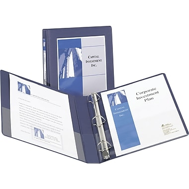 1/2in. Avery® Frame View Binder with Slant-D Rings, Navy Blue