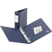 3 Avery® Heavy Duty Binders with Round Ring and Label Holder, Blue