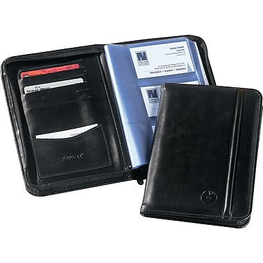 Rolodex 120-Card Black Simulated Leather Zippered Business Card Book