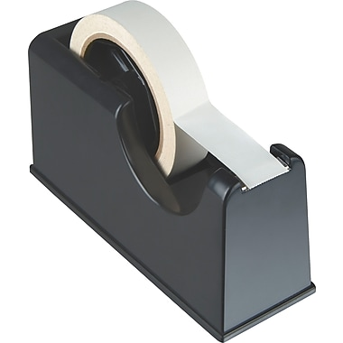 OIC Heavy-Duty Tape Dispenser, 1in. and 3in. Core, Black, 4 1/4in.H x 3 1/4in.W x 8 1/4in.D