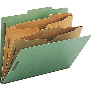 Smead® Colored Pocket-Style Classification Folders, Letter, 2 Partitions, Green, 10/Box