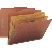 Smead® Colored Pocket-Style Classification Folders, Letter, 2 Partitions, Red, 10/Box