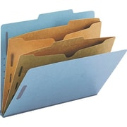 Smead® Colored Pocket-Style Classification Folders, Letter, 2 Partitions, Blue, 10/Box