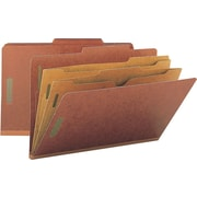 Smead® Colored Pocket-Style Classification Folders, Legal, 2 Partitions, Red, 10/Box