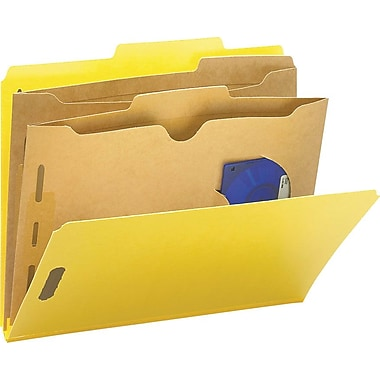 Smead Colored Pocket-Style Classification Folders, Letter, 2 Partitions, Yellow, 10/Box