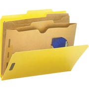 Smead® Colored Pocket-Style Classification Folders, Letter, 2 Partitions, Yellow, 10/Box