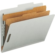 Staples® Top Tab Pressboard Classification Folders, Letter, 2 Partitions, Gray/Green, 10/Box