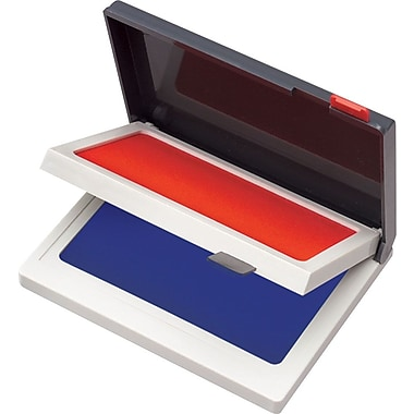 Cosco Two-Color Felt Stamp Pads, Red/Blue, 2 3/4in. x 4 1/4in.
