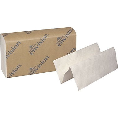 Envision® Recycled Multifold Paper Towels, White, 1-Ply, 4,000/Case