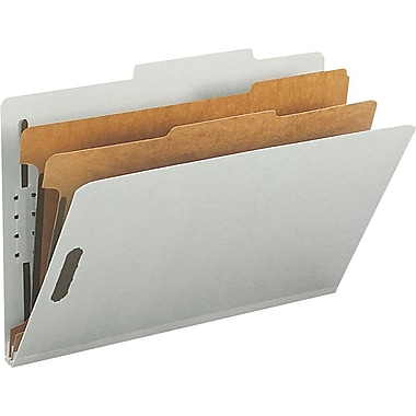Staples® Top Tab Pressboard Classification Folders, Legal, 2 Partitions, Gray/Green, 10/Box