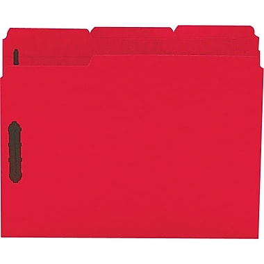Staples® Colored Reinforced Tab Fastener Folders, Letter, Red, 50/Box