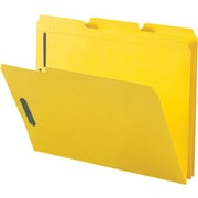 Staples® Colored Reinforced Tab Fastener Folders, Letter, Yellow, 50/Box
