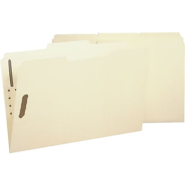 Smead Reinforced Manila Fastener Folders, Legal, 3 Tab, Positions 1 & 3, 50/Box