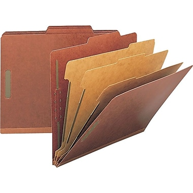 Staples® Top Tab Pressboard Classification Folders, 2/5 Cut Tab, 3 Partitions, 10/Box (18336)