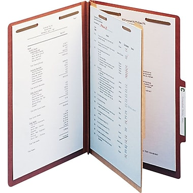 Staples® Top Tab Pressboard Classification Folders, Letter, 1 Partition, Red, 10/Box