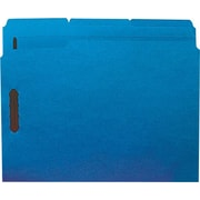 Staples® Colored Reinforced Tab Fastener Folders, Letter, Blue, 50/Box