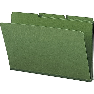Smead® Colored Pressboard File Folders, 3 Tab, Legal, Green, 25/Box