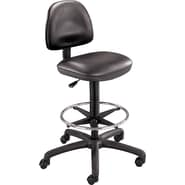 Safco Precision Extended Height Drafting Swivel Stool, Faux Leather, Black